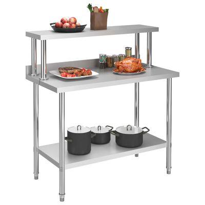 vidaXL Arbetsbord med överhylla 120x60x120 cm rostfritt stål