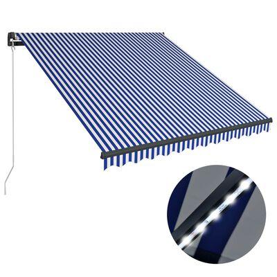 vidaXL Markis manuellt infällbar med LED 450x300 cm blå och vit