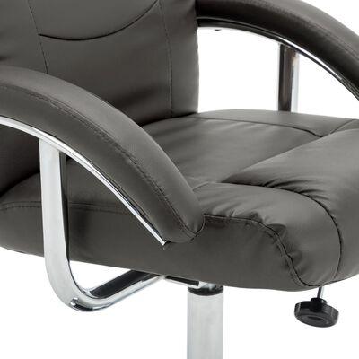 vidaXL Fåtölj med fotpall grå konstläder, Grey