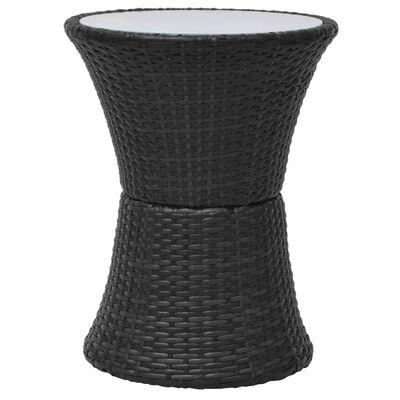 vidaXL Caféset med dynor 3 delar konstrotting svart