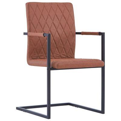 vidaXL Fribärande matstolar 4 st brun konstläder