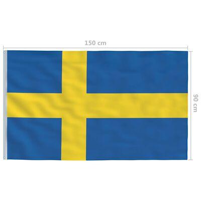 vidaXL Sveriges flagga och flaggstång i aluminium 4 m
