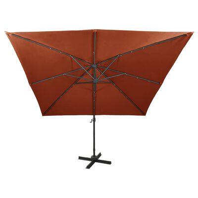 vidaXL Frihängande parasoll med stång och LED terrakotta 300 cm
