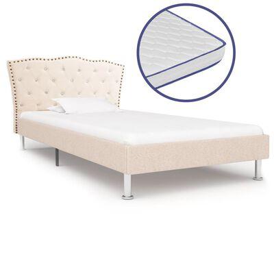 vidaXL Säng med memoryskummadrass beige tyg 90x200 cm