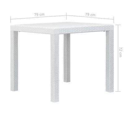 vidaXL Trädgårdsbord 79x79x72 cm konstrotting vit