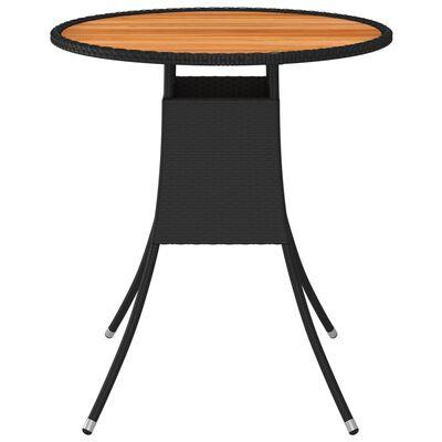 vidaXL Matbord för trädgård svart Ø70cm konstrotting och massiv akacia