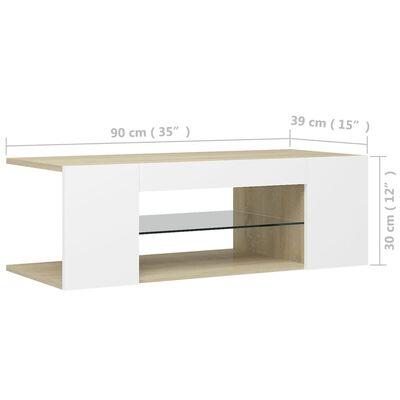 vidaXL TV-bänk med LED-belysning vit och sonoma-ek 90x39x30 cm