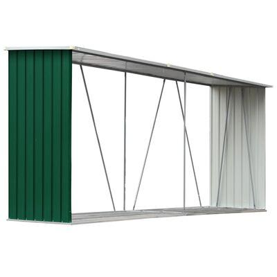 vidaXL Vedskjul i galvaniserat stål 330x84x152 cm grön