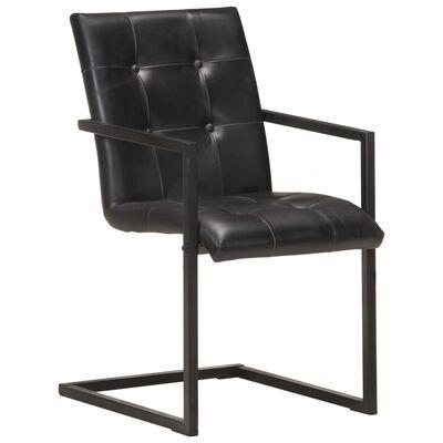vidaXL Fribärande matstolar 2 st svart äkta läder