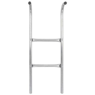 vidaXL Stege till studsmatta 2 steg stål silver 82,5 cm