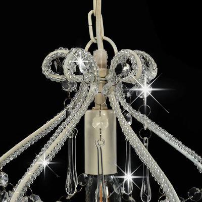 vidaXL Taklampa med pärlor vit rund E14