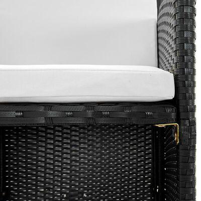 vidaXL Matgrupp för trädgården med dynor 11 delar konstrotting svart