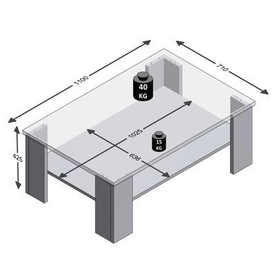 FMD Soffbord med hylla ekträ