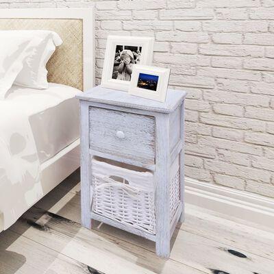 vidaXL Sängbord trä vit