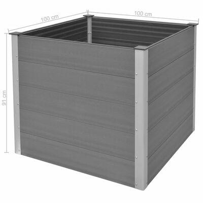 vidaXL Odlingslåda upphöjd WPC 100x100x91 cm grå