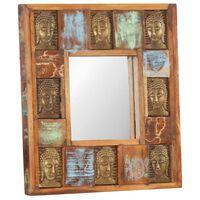 vidaXL Spegel med buddha-utsmyckningar 50x50 cm massivt återvunnet trä