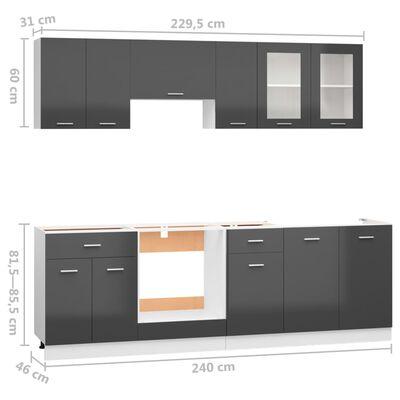 vidaXL Köksskåp set 8 delar grå högglans spånskiva