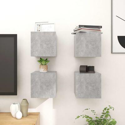 vidaXL Väggmonterade TV-skåp 4 st betonggrå 30,5x30x30 cm