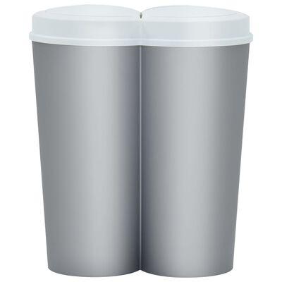 vidaXL Dubbel sophink silver och vit 50 L