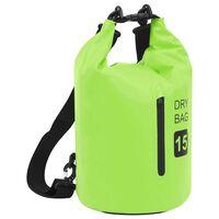 vidaXL Vattentät packpåse med dragkedja grön 15 L PVC
