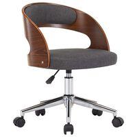 vidaXL Snurrbar kontorsstol böjträ och tyg grå