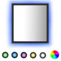 vidaXL Badrumsspegel med LED grå 40x8,5x37 cm spånskiva