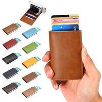 RFID Skydd Plånbok Korthållare 5st Kort (Äkta Läder)-Utan Knapp