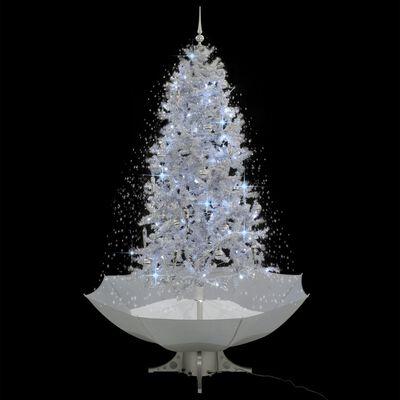 vidaXL Julgran med snö och paraplybas vit 190 cm