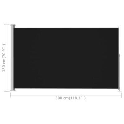 vidaXL Infällbar sidomarkis 180x300 cm svart