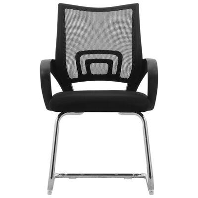 vidaXL Fribärande kontorsstol svart nättyg