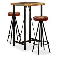 vidaXL Barmöbler 3 delar massivt återvunnet trä, äkta läder & kanvas