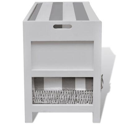 vidaXL Hallbänk med dyna, 2 korgar och 2 lådor vit