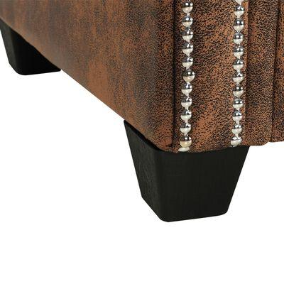 vidaXL L-formad Chesterfieldsoffa konstmocka brun