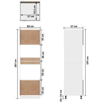vidaXL Köksskåp för mikrovågsugn grå högglans 60x57x207 cm spånskiva