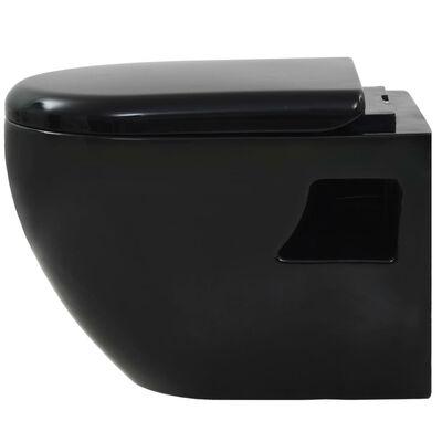 vidaXL Vägghängd toalett med dold cistern keramik svart