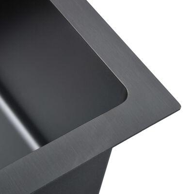 vidaXL Handgjord diskho med sil svart rostfritt stål