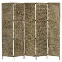 vidaXL Rumsavdelare 5 paneler vattenhyacint 193x160 cm brun