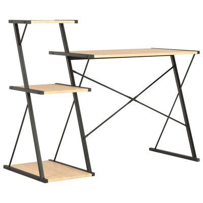 vidaXL Skrivbord med hylla svart och ek 116x50x93 cm