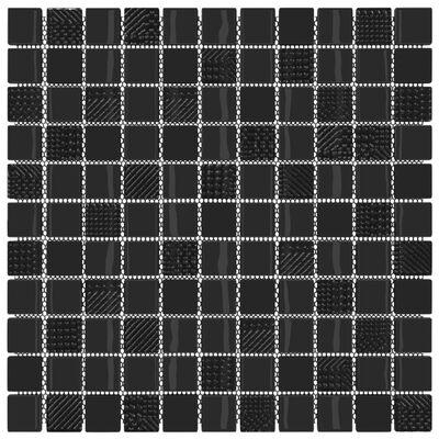 vidaXL Självhäftande mosaikplattor 22 st blank svart 30x30 cm glas