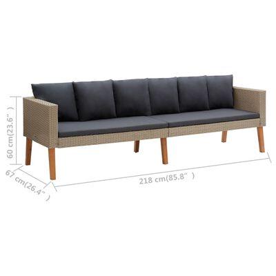 vidaXL Trädgårdssoffa 3-sits med dynor konstrotting beige