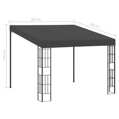 vidaXL Väggmonterad paviljong 3x3 m antracit tyg