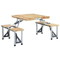 vidaXL Hopfällbart campingbord med 4 sitsar stål aluminium