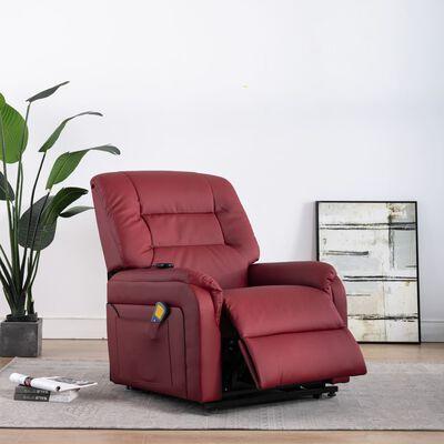 vidaXL Elektrisk massagefåtölj med uppresningshjälp vinröd konstläder