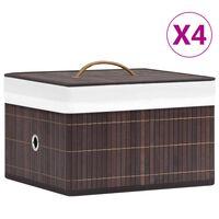 vidaXL Förvaringslådor bambu 4 st brun