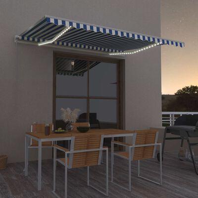 vidaXL Markis manuellt infällbar med LED 400x300 cm blå och vit