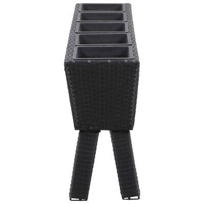 vidaXL Odlingslåda upphöjd 5 krukor 118x25x50 cm konstrotting svart