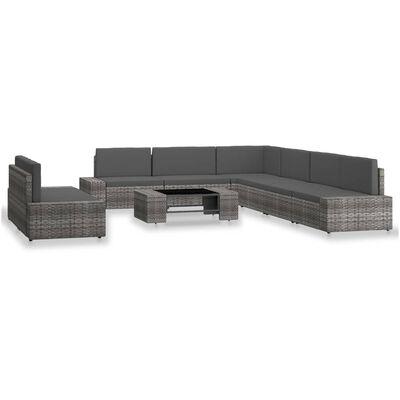 vidaXL Loungegrupp för trädgården 9 delar konstrotting grå