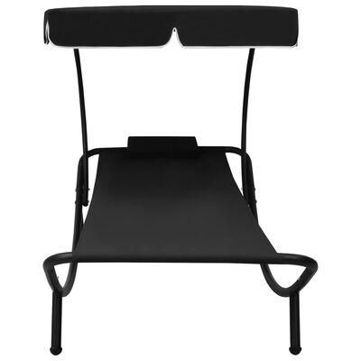 vidaXL Solsäng med tak & kudde svart, Black