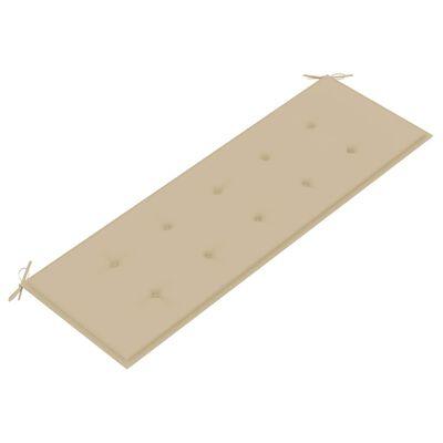 vidaXL Bataviabänk med beige dyna 150 cm massiv teak