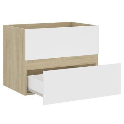 vidaXL Tvättställsskåp vit och sonoma-ek 60x38,5x45 cm spånskiva